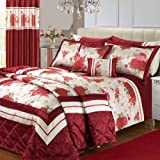 Single Bed Burgundy Floral Modesto Modern Bloom Bedspread Quilted Comforter Throw Floral Classic