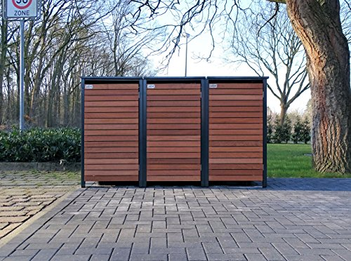 BBT@ | Premium Mülltonnenboxen für 3 Tonnen je 240 Liter Grau / Front-Edelholz / Vollverzinkte...