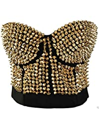 d31ad587ad Belly Dance Clubwear Gold Punk Metallic Gathers Spike Studs Rivet Strapless  Bra Bustier Sexy Brassiere Push