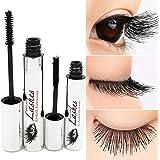 Tiikii DDK 4D Silk Fiber Lash Mascara for Eyelash Extension, Crazy-long Black Grow Lash Cream Kit Warm Water Washable Curling