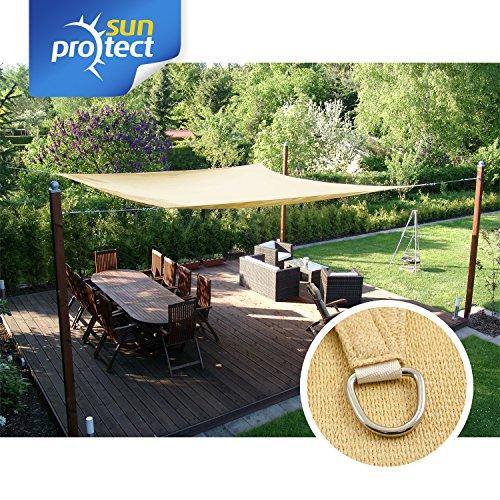 sunprotect 83486 Professional Sonnensegel, 5 x 2 m, rechteckig, Wind- & wasserdurchlässig, Beige | Garten > Sonnenschirme und Markisen > Sonnensegel | Polyethylen | sunprotect