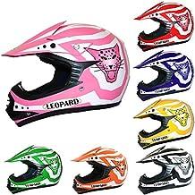 Leopard LEO-X17 KIDS MOTOCROSS CASCO niños casco quad Niños Dirt Bike Crash Helmet Rosado M