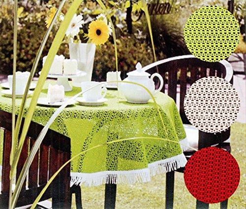 friedola OUTDOOR Tischdecke rechteckig 130x160 cm WETTERFEST & RUTSCHFEST Gartentischdecke in beige mit Fransen Camping Garten Tischdekoration Typ444