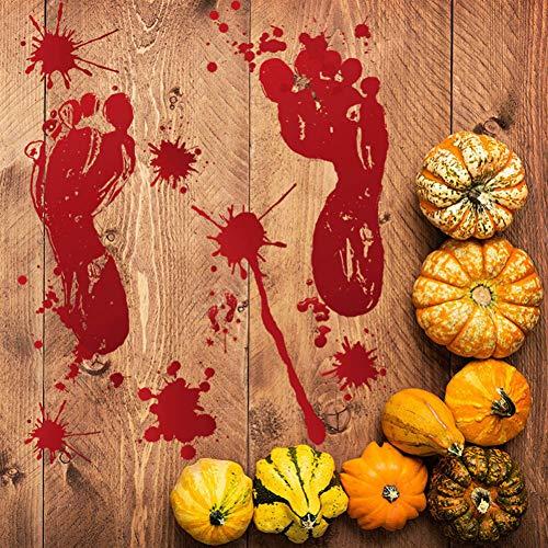 VIOYO Halloween Dekoration Rotes Blut Fuß Wandaufkleber Zombie Halloween Lebensgroße Wand Bodensticks Dekor