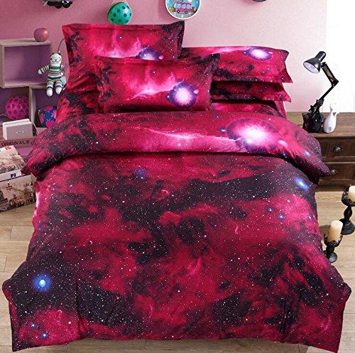 Galaxy 3D Öl Print Baumwolle Tröster Bettdecke Geheimnisvolle Sky Night Bettbezug-Set und Kissenbezug-Set King Size 4Stück (inklusive Bettwäsche Bettbezug + Bettlaken + 2Kopfkissenbezüge) g King-size-teen Tröster Set