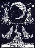 Indischer Mandala-Bettüberwurf oder Wandteppich aus Baumwolle, Bohemian-Stil, dekorativ Moon Black