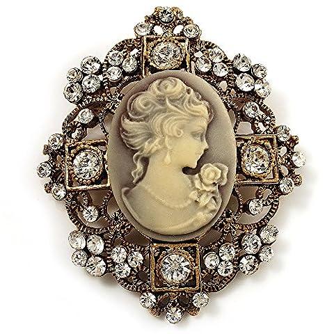 Heiress Filigree 'Cameo' Brooch (Antique Gold Finish)