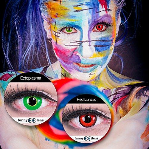 Farbige Kontaktlinsen Jahreslinsen Meralens 1 Paar rote schwarze Crazy Fun red lunatic .Topqualität zu Fasching Karneval Fastnacht Halloween mit Kontaktlinsenbehälter ohne Stärke - 3