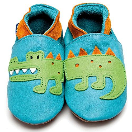 Inch Blue Baby Lederpuschen Krokodil Türkis/Orange Türkis