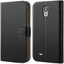 HOOMIL Coque Samsung S4, Housse en Cuir Premium Flip Case Portefeuille Etui Coque pour Samsung Galaxy S4 (H3017, Noir)