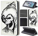 CoverFix Premium Hülle für Samsung Galaxy A5 (Modell 2017) A520 Flip Cover Schutzhülle Kunstleder Flip Case Motiv (1027 Totenkopf Skull Sensenmann)