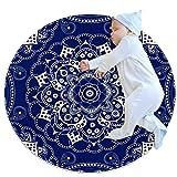 Mandala Blu e Bianco 1 Tappeto Rotondo per Bambini Tappeti per Esterni Antiscivolo Morbidi per Soggiorno Camera da Letto cameretta cameretta Balcone Cerchio 100cm