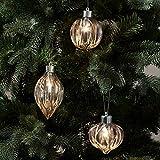 Lights4fun 3er Set LED Weihnachtskugeln aus Glas warmweiß Batteriebetrieb