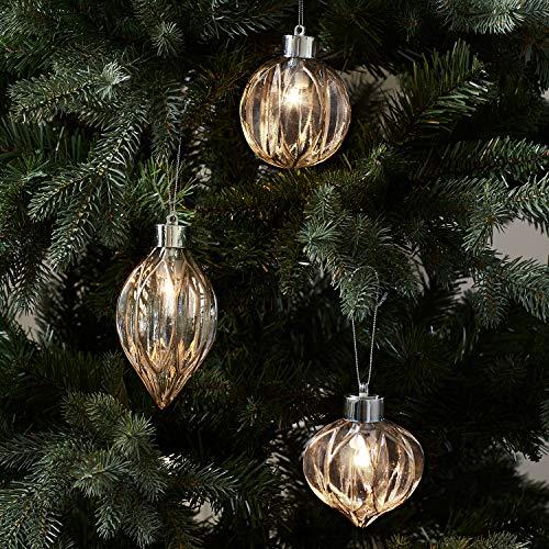 Lights4fun - set di 3 palline di natale in vetro con dettagli dorati e led bianco caldo a pile