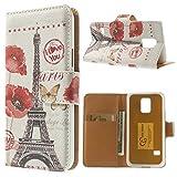 NALIA Klapphülle für Samsung Galaxy S5 Mini, Hülle Slim Flip-Case Kunst-Leder Vegan Schutzhülle, Dünne Vorne Hinten Handy-Tasche Wallet Bumper für Samsung S5 Mini - Eiffelturm Paris Edition