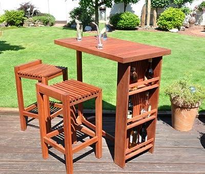 Leco 29690799 Bar-Garnitur 1 Tisch, 2 Barhocker