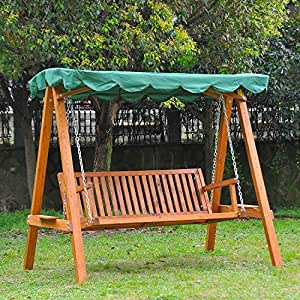 Outsunny 3 Seater Wooden Wood Garden Swing Chair Seat Hammock Bench Furniture Lounger Bed Wooden