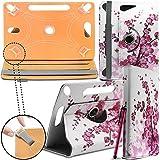 ARCHOS 90b Neon Tablet Neues Design Universelle um 360 Grad drehbare PU-Leder Designer bunte Hülle mit Standfunktion - Cover - Tasche - Pink Blossom / Rosa Blüten - Von Gadget Giant®