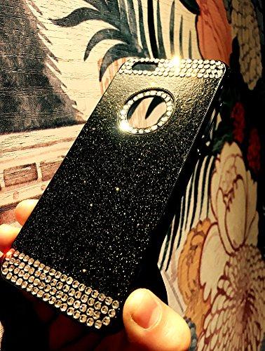 Custodia iPhone 6 Plus Glitter, iPhone 6S Plus Cover Silicone, SainCat Cover per iPhone 6/6S Plus Custodia Silicone Morbido, Custodia Bling Glitter Strass Diamante Rhinestones 3D Design Ultra Slim Sil Nero
