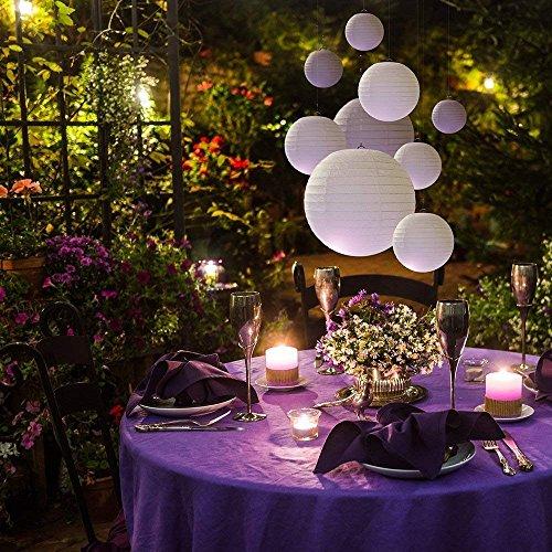 ZesNice Deko Hochzeit, 20 Stück Lampions Weiß Papier Laterne Papierlampion Papierlaterne Weiss Gastgeschenke Hochzeit Vintage Gartenparty Dekoration, Verschiedene Größen