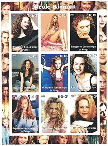 Briefmarken für Sammler-imperforfate Stempel Blatt mit Nicole Kidman/Die Schauspielerin in verschiedenen Posen/Demokratische Republik Kongo -