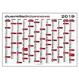 Calendario 2019 planner planning da muro per ufficio (118X84 CM)
