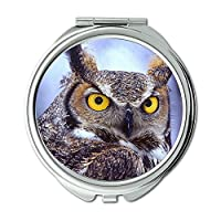 Yanteng made desktop big eyes owl animals birds Wallet mirror, makeup mirror, pocket mirror (portable mirror)