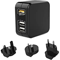 Travel Adaptor Charger, QC 3.0 Fast Wall Charger 3 Port 30W Multi USB Plug Adapter with UK/USA/EU/AU Worldwide for…