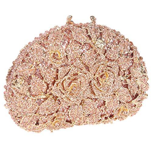Bonjanvye Glitter Studded Rhinestone Rose Clutch Purse for Wedding Party Gold rose gold