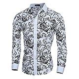 Camisa Domybest de manga larga para hombre con diseño de flores