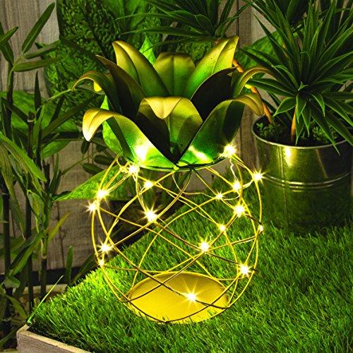Benross 16670 Solar Pineapple Table Lamp Light, Yellow