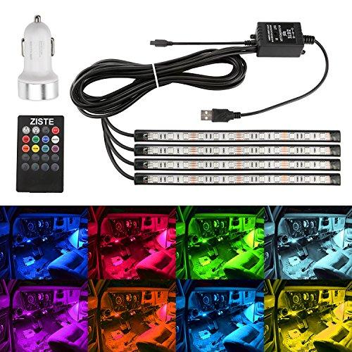 Preisvergleich Produktbild ZISTE LED Streifen Auto 4-teiliges Innenraumbeleuchtung Lichtleiste mehrfarbliche LED Leuchten für Innenräume Kit Set mit Sound Active Funktion und kabelloser Fernbedienung,Dual-USB-Port Autoladegerät