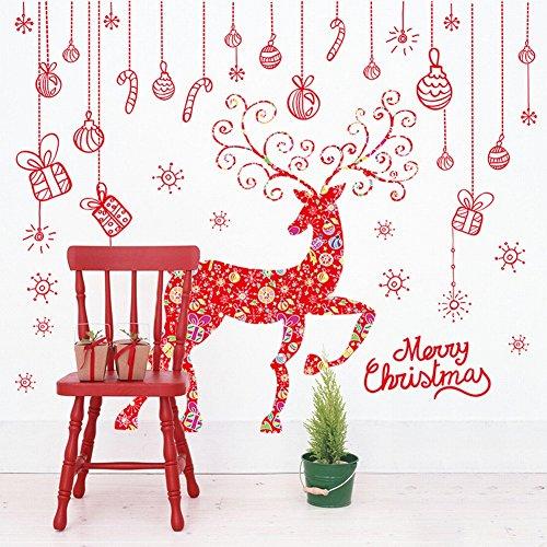 HOMEE Rote Baumwolle Mantel Weihnachten Sikahirsch Fenster Glas Aufkleber Weihnachten Dekorative Wand Aufkleber,Zahl,60CMX90CMX2 (Küchenchef Mantel)