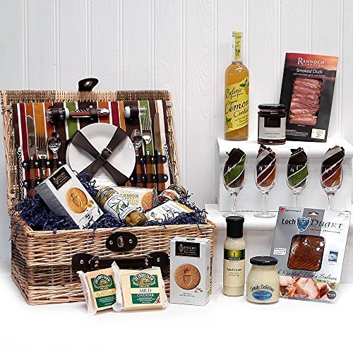 Buckingham Luxury 4 Person Picnic Fitted Chiller Hamper Basket with an Organic Gourmet Food Selection (Includes 14 Items) - Gift ideas for Mother's Day, Birthday, Anniversary and Congratulations Presents