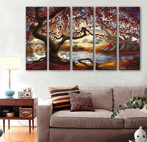 5-pcs-creative-continental-lakeside-arbres-peinture-decorative-giclee-toiles-frameless-peintures-sur