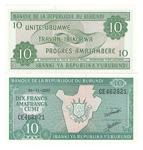 Zubehör für Sammler Bank of Burundi 10 Francs Banknote Crisp UNC / 2007 / Original Papiergeld