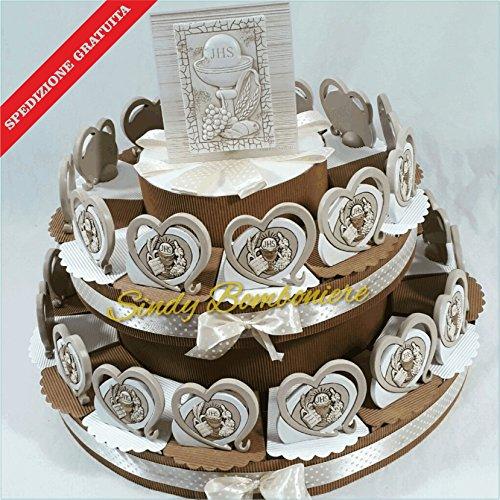 Torta prima comunione con centrale carlo pignatello e bomboniere da appoggio spedizione gratuita (torta da 12 pezzi)