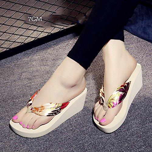 LIXIONG Portatile Flip flop di seta morbida per la pelle Femmina estiva scivolosa con pantofole Sandali impermeabili inferiori di fondo Sandali personalità di moda -Scarpe di moda ( Colore : 1004 , di 1004