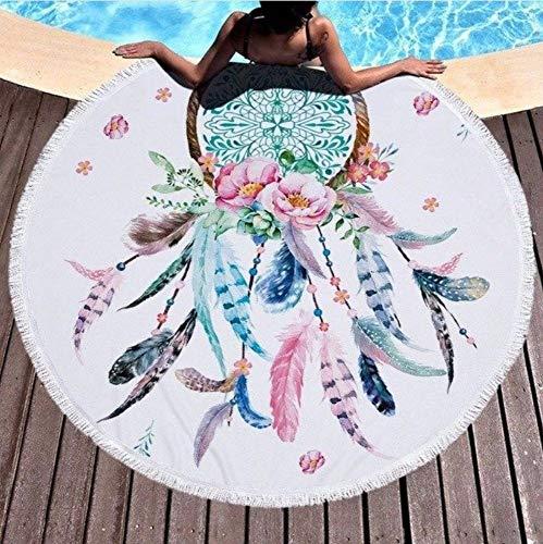 Vanzelu Mikrofaser Große Badetuch Für Strand 150x150cm Runde Dream Catch Gedruckt Strandtuch Schnell Gepresste Handtuch Tapisserie Yogamatte Picknick-Matte