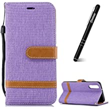 Slynmax Huawei P20 Phone Case, Huawei P20 Case Wallet, Huawei P20 Cover Leather Colorblock Denim + PU Leather Design Flip Phone Cover