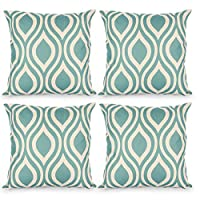Topfinel Drop Patterns Cushion Cover Canvas Decorative Square Throw Pillow Cases for Sofa Bedroom 18 x 18 Inch, with Invisible Zipper 45cm x 45cm, Set of 4