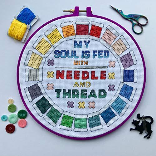 My Soul is Fed with Aedle and Thread Cross Stitch Kit de broderie au point de croix circulaire moderne et lumineux 24,1 cm x 24,1 cm