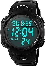 Orologi da uomo sportivo digitale - 50 m impermeabile sport orologio con cronometro, nero Big Face corsa orologio da polso con retroilluminazione a LED per uomo di RSVOM