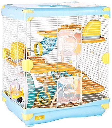 Cage Exploration Land pour hamster nain, taille 36 cm x 27 cm x 42,5 cm, bleue