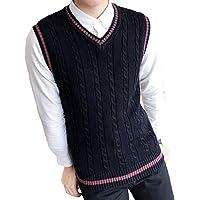 Classic Mens Gilet V-Neck Sleeveless Jumper Vest Knitwear Cardigans Knitted Waistcoat Sweater Tank Tops