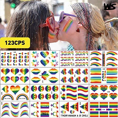 Kindlyperson 123 Stücke Homosexuell stolz Liebe Flagge Regenbogen Aufkleber Band für Festival Party Parades Bevorzugungen Liefert Dekorationen
