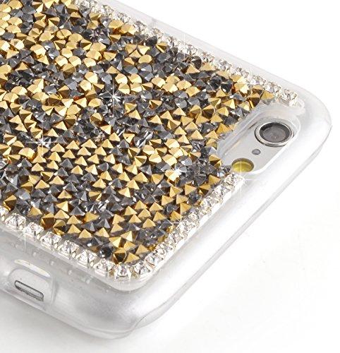 JAMMYLIZARD   Ultra Slim Silikonhülle für [ iPhone 6 & 6s 4.7 Zoll ] mit Tarnmuster, ROT / PINK / GRAU Strass - GOLD