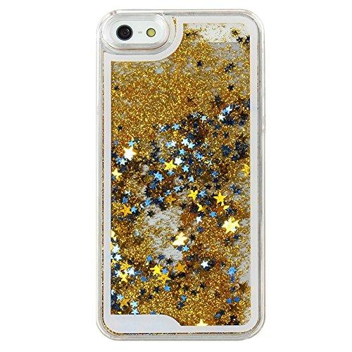 Handy Hülle Bling Bling Glitter Liquid Schutzhülle Cover Case Star Treibsand von ZhinkArts für Apple IPhone 4 / 4S Blau Stern Gold Stern