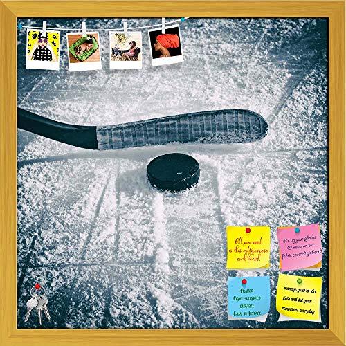 Artzfolio Hockey Stick & Puck Printed Bulletin Board Notice Pin Board   Golden Frame 20 X 20Inch
