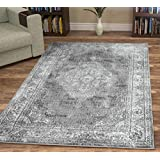 A2Z Rug Vintage Traditional Santorini Collection Grey 160x230 cm - 5.5x7.5 ft Area Rugs